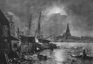 Steamer Leaving The Harbour of Ostend Andreas Achenbach – wood engraving 1886