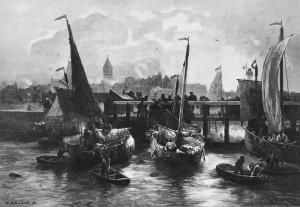 Mañana en OstendeAndreas Achenbach - Grabado en madera 1886