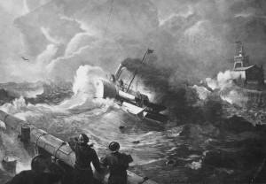 Barco de vapor zarpando del puerto de OstendeAndreas Achenbach - Grabado en madera 1886