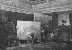 Andreas Achenbach in zijn atelierHolzstich 1885